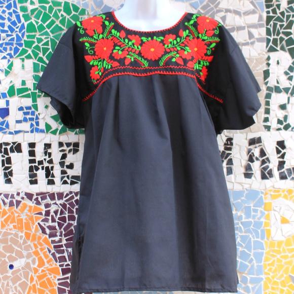 c546e001e6b Mexican Blouse Puebla Black w  Red Sz Large